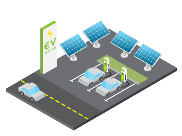 Isometric electric vehicle charging station with solar power concept Isometric electric vehicle charging station with solar power concept, isolated vector hybrid car stock illustrations