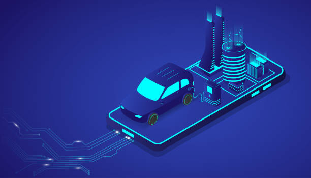 Isometric electrical car or EV modern vehicle with city on smartphone. Future energy and innovation transportation concept. Vector illustration website template and landing page design. Isometric electrical car or EV modern vehicle with city on smartphone. Future energy and innovation transportation concept. Vector illustration website template and landing page design. alternative fuel vehicle stock illustrations