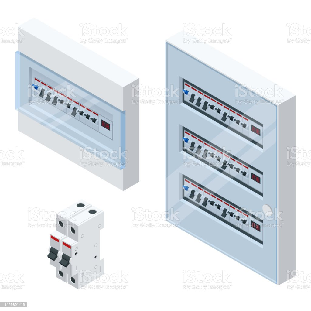 Isometric Electrical Panel With Fuses And Contactors Automatic ... on