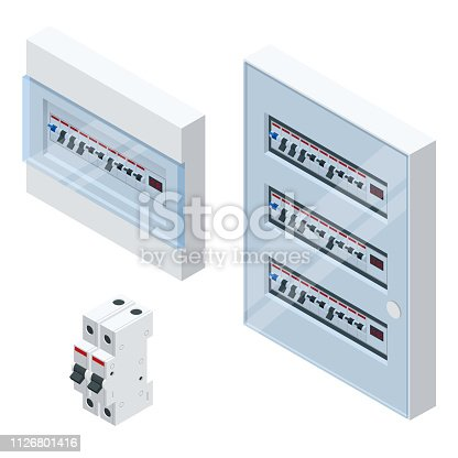 Isometric Electrical panel with fuses and contactors. Automatic circuit breakers, isolated on white background. Electric fuse
