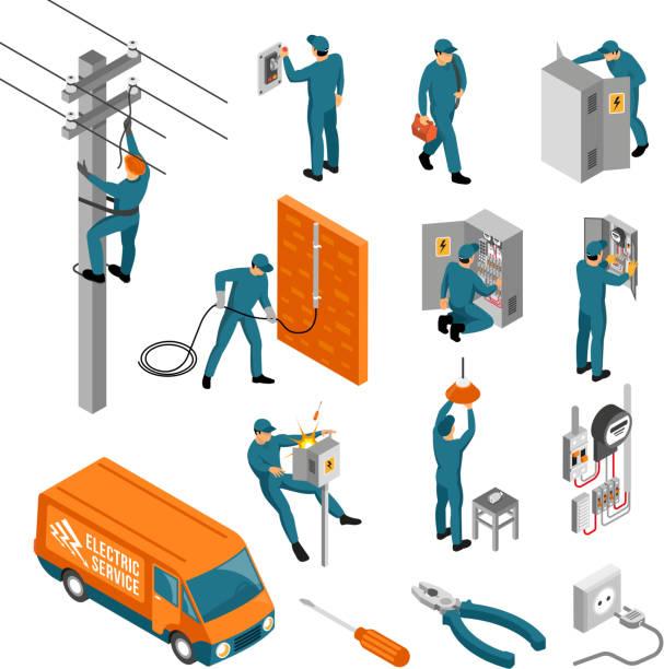 isometrischer Elektriker-Beruf gesetzt – Vektorgrafik