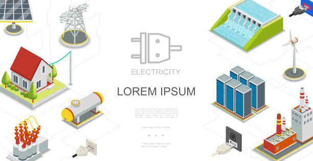 Isometric Electricity And Energy Concept Isometric electricity and energy concept with hydroelectric and fuel power stations solar panel gas tank windmill energy storage electric transformer transmission tower vector illustration transformer stock illustrations