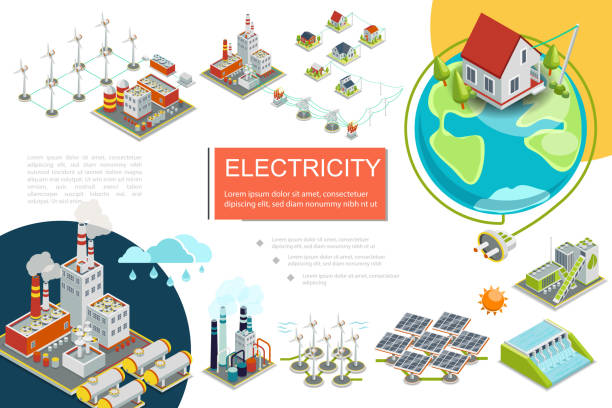 Isometric Electricity Infographics Isometric electricity infographics with fuel geothermal hydroelectric nuclear power stations biomass energy factory windmills electric transmission line solar panels vector illustration electricity transformer stock illustrations