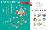 Isometric electricity production composition with nuclear and hydroelectric power stations windmills electric towers transmission energy storage solar panel houses vector illustration