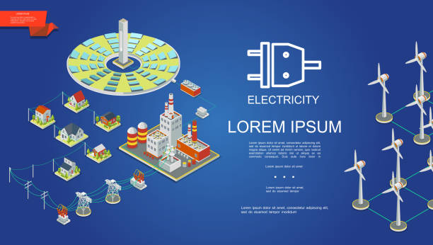 Isometric Electricity Production Concept Isometric electricity production concept with solar panels energy power plant electric transformers transmission towers houses windmills vector illustration transformer stock illustrations