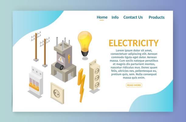 bildbanksillustrationer, clip art samt tecknat material och ikoner med iso metrisk el produktion element med transformator och glöd lampa, hem elektriska infographic banner - changing bulb led
