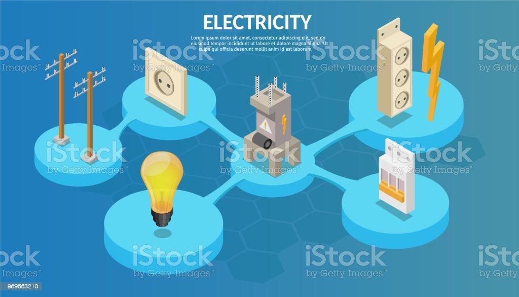 Isometrische Elektrizität Produktionselemente Mit Transformator Und ...