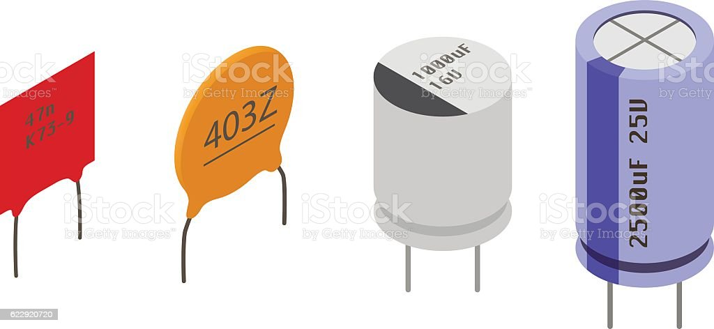 Isometric Electronic components Capacitors vector art illustration