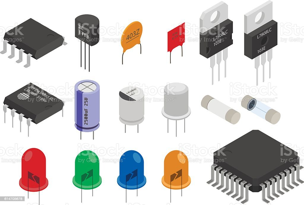 Isometric Electronic components vector art illustration