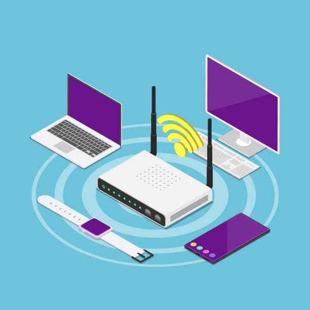 stockillustraties, clipart, cartoons en iconen met isometrische elektronische apparaten die zijn aangesloten op een wi-fi-router - router