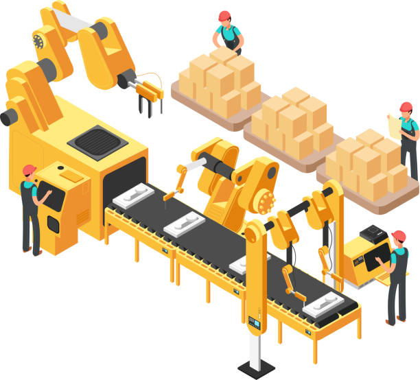 Isometric electronic factory with conveyor assembly line, operators and robots. 3d vector illustration vector art illustration