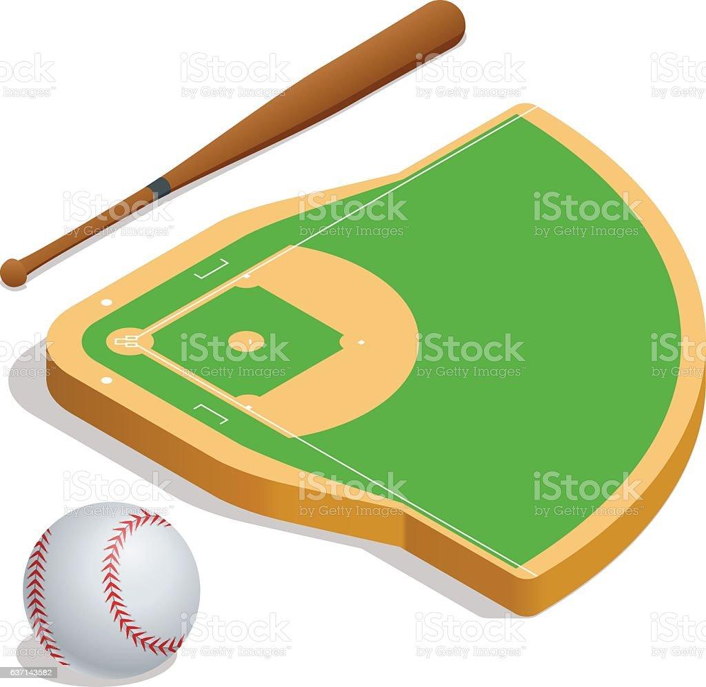 Isometric elements baseball set. vector art illustration