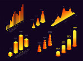 Isometric elements for infographic and report, graphs, waves and columns. Statistics of data, financial report, technology presentation. Set of 3d isometric elements for infographic. Vector