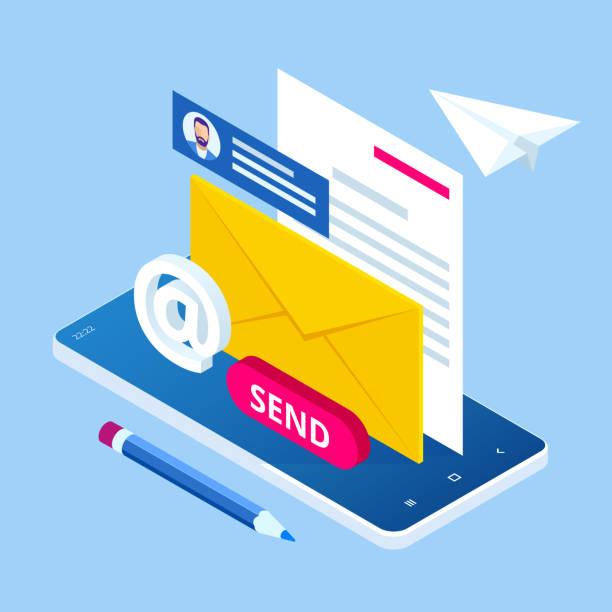ilustrações de stock, clip art, desenhos animados e ícones de isometric email inbox electronic communication. e-mail marketing. receiving messages. new mail receive. inbox message. inbox email - inbound marketing