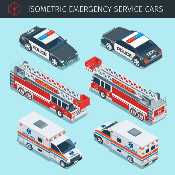 Isometric emergency service cars Isometric emergency service cars with front and rear views. 3d vector transport icons set. Highly detailed vector illustration fire engine stock illustrations