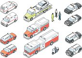 Ambulance, fire trucks, police cars and motorcycle, tow truck, and people, in isometric view. EPS10 and high-quality JPEG included.  Vehicles do not represent specific makes or models.
