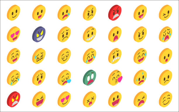 Isometric emoji set vector art illustration