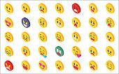 Isometric emoji set.
