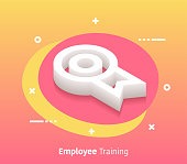 Employee training isometric design concept with modern style gradients. Vector design elements useful for web banner or poster.