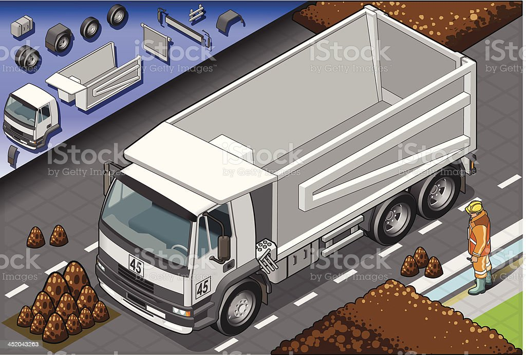 Isometric Empty Container Truck in Front View royalty-free stock vector art