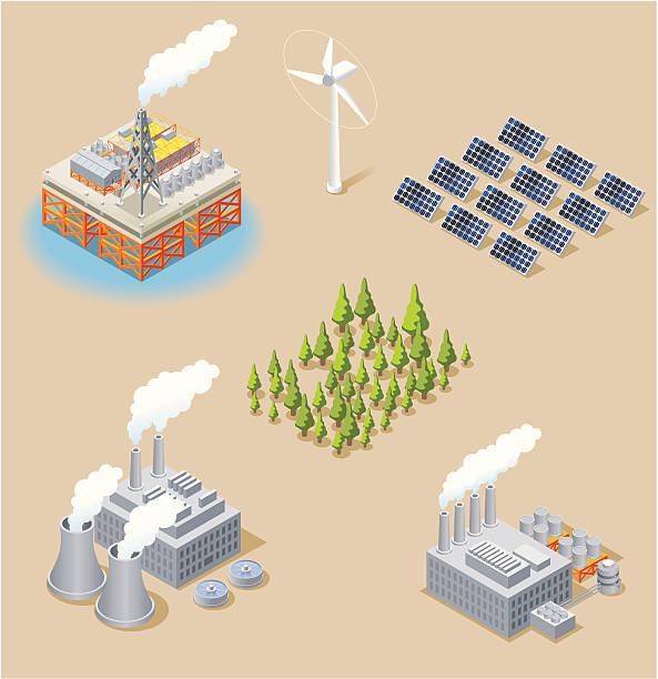 Isometric, Energy Set Isometric, Energy Set made in adobe Illustrator (vector) power station stock illustrations