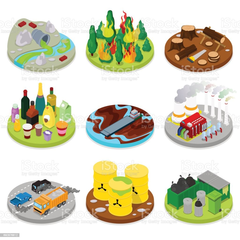 Isometric Environmental Pollution Set. Chemical vector art illustration