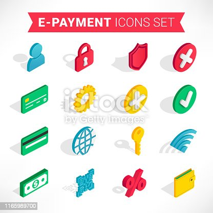 Isometric e-payment icons set. 3d wallet, credit card, bundle cash, qr code, checkmark sign collection isolated on white background. Business, finance, pay online, mobile banking vector illustration