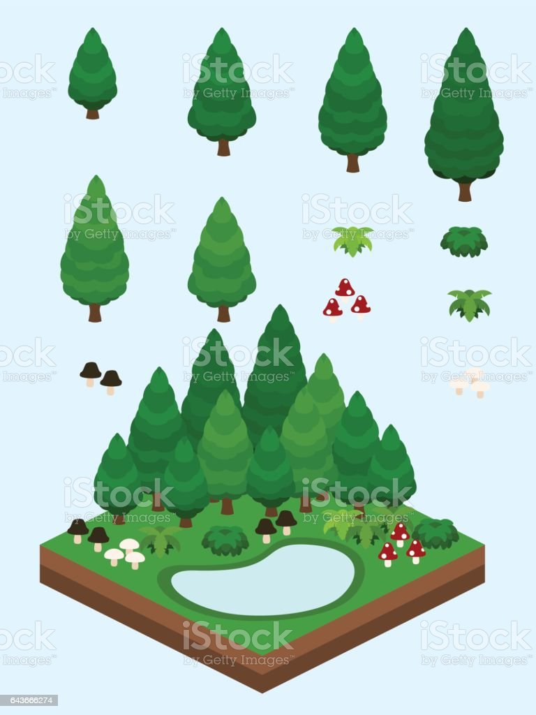 Isometric Evergreen Coniferous Forest vector art illustration