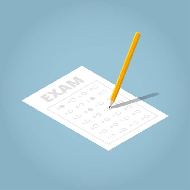 illustrazioni stock, clip art, cartoni animati e icone di tendenza di isometric exam sheet illustation - test