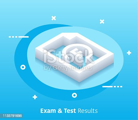 Exam and test results isometric design concept with modern style gradients. Vector design elements useful for web banner or poster.