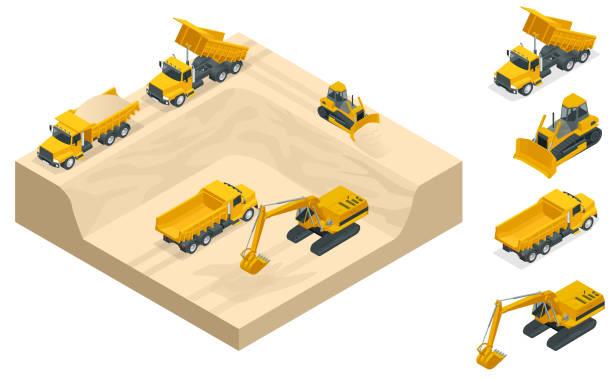 bildbanksillustrationer, clip art samt tecknat material och ikoner med isometrisk grävmaskiner och bulldozers gräva en grop på sand stenbrottet. - mining
