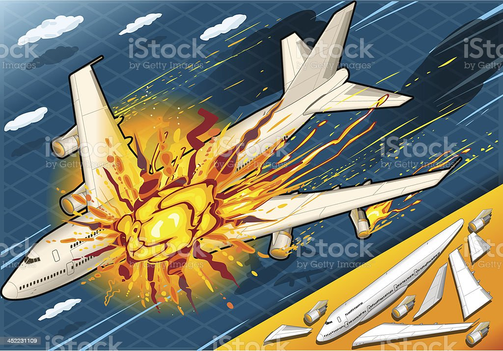 Isometric Explosion of Airplane Falling Down royalty-free stock vector art