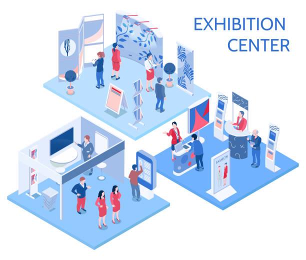 isometrische Expo-Messe-Ausstellung – Vektorgrafik