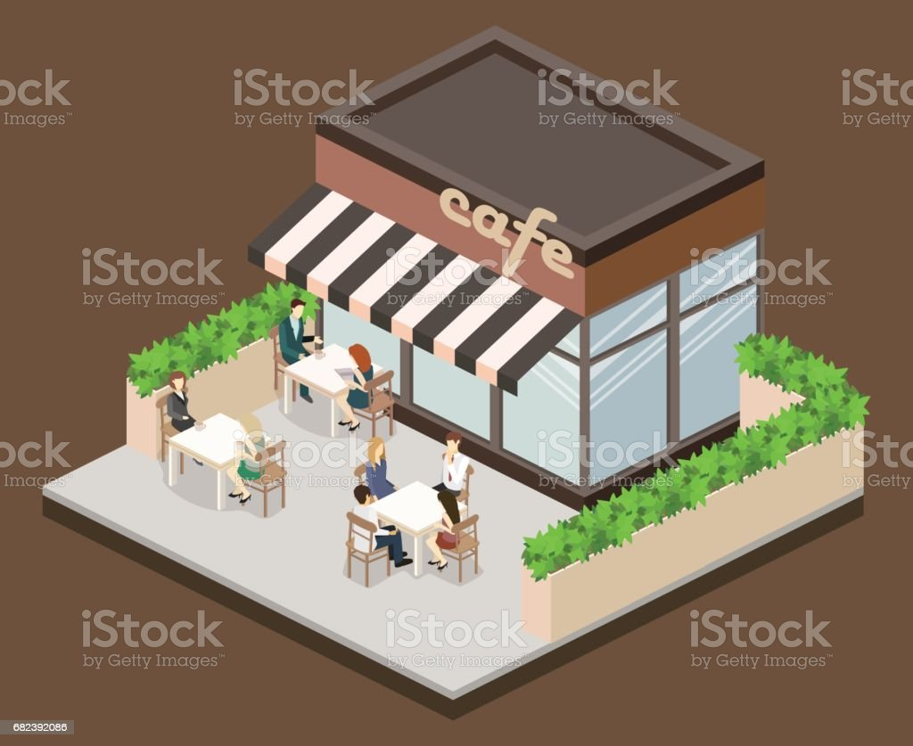 Isometric exterior of coffee shop or sweet-shop. royalty-free isometric exterior of coffee shop or sweetshop stock vector art & more images of adult