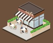 Isometric exteriorof coffee shop or sweet-shop. People sit at the table and eating. Fence from plants. Flat 3D illustration
