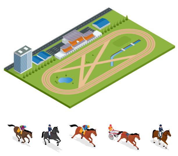 아이소메트릭 외부 경마장 및 말, 설정된 기 챔피언, 스포츠 배경에 대 한 승마. 종 마 경주 트랙입니다. 벡터 일러스트입니다. 승마 스포츠 - horse racing stock illustrations
