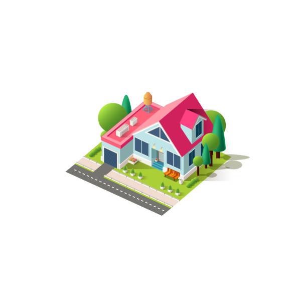 Cottage maison façade isométrique - Illustration vectorielle