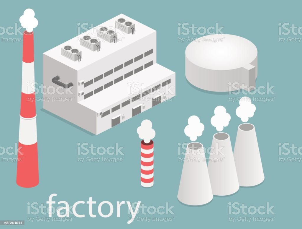 isometric facade of building. Flat 3D of Factory royalty-free isometric facade of building flat 3d of factory stock vector art & more images of air duct
