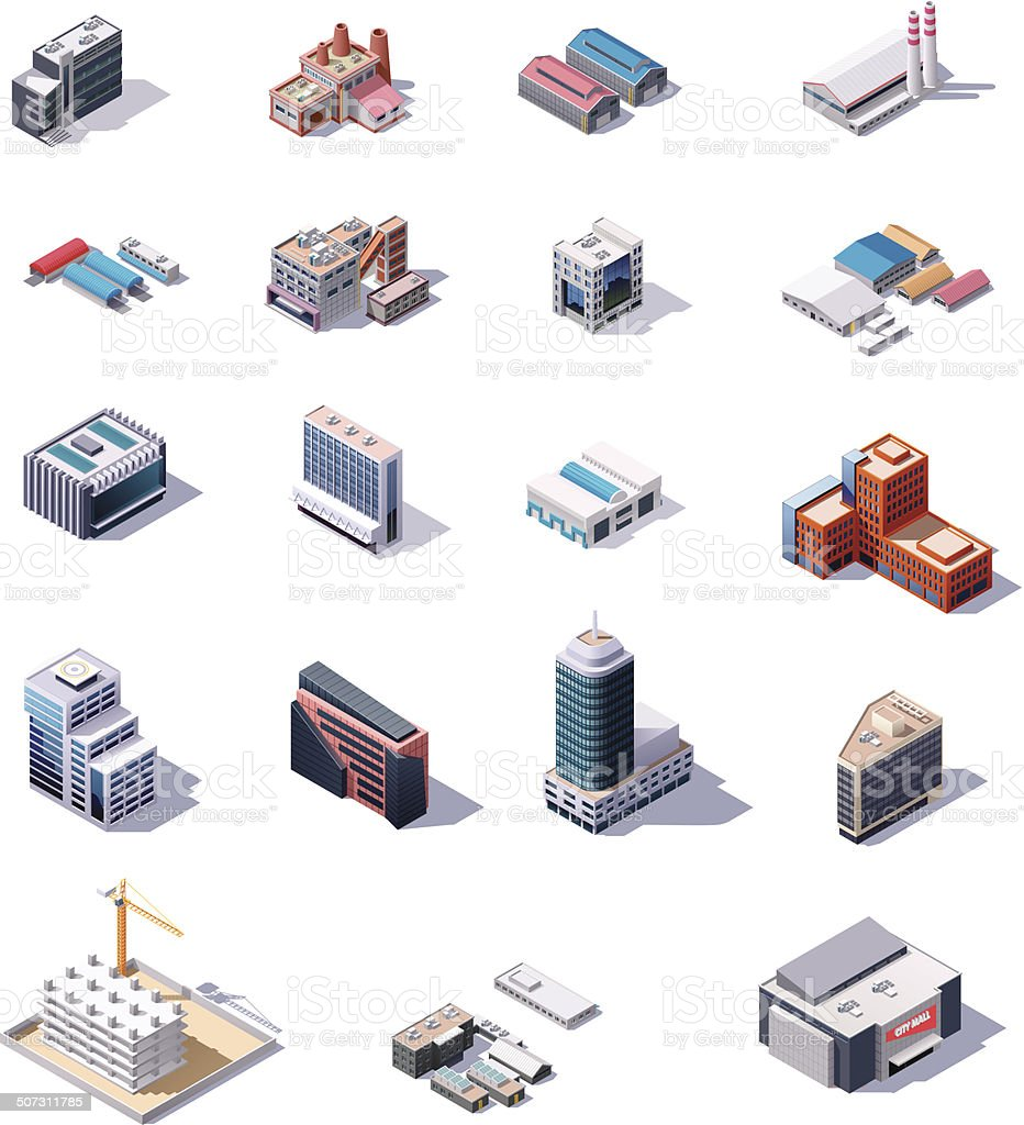 Isometric factory and office buildings set vector art illustration