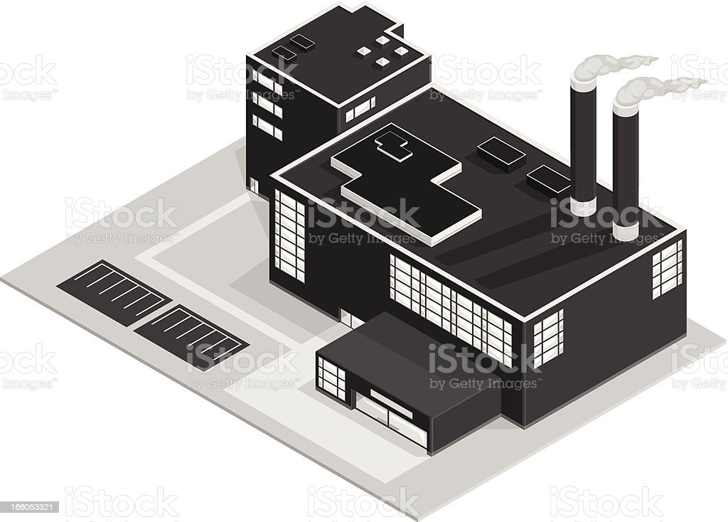 Isometric Factory Building royalty-free stock vector art