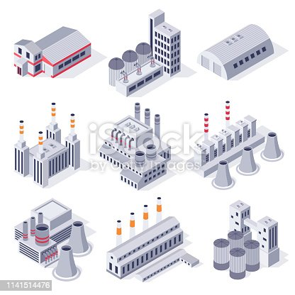 Isometric factory buildings. Industrial power plant building, factories warehouse storage and industry estate. Manufacturing industry, plant architecture exterior 3D vector isolated icons set