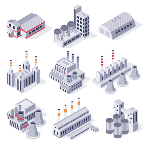 Isometric factory buildings. Industrial power plant building, factories warehouse storage and industry estate 3D vector set Isometric factory buildings. Industrial power plant building, factories warehouse storage and industry estate. Manufacturing industry, plant architecture exterior 3D vector isolated icons set factory stock illustrations