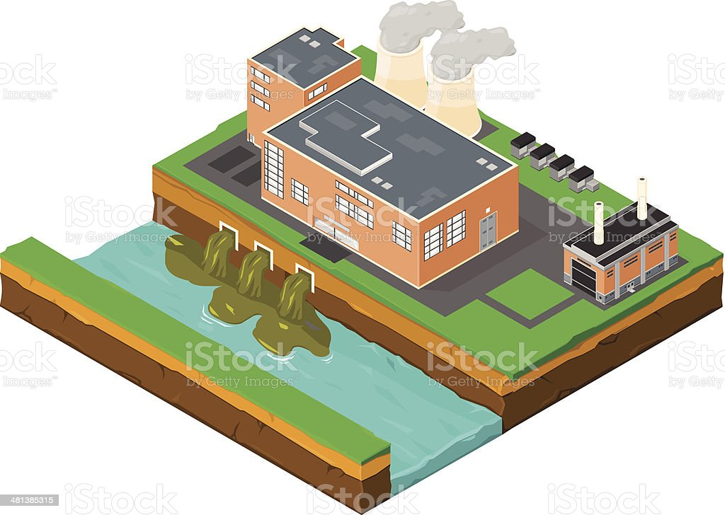 Isometric Factory Pollution vector art illustration