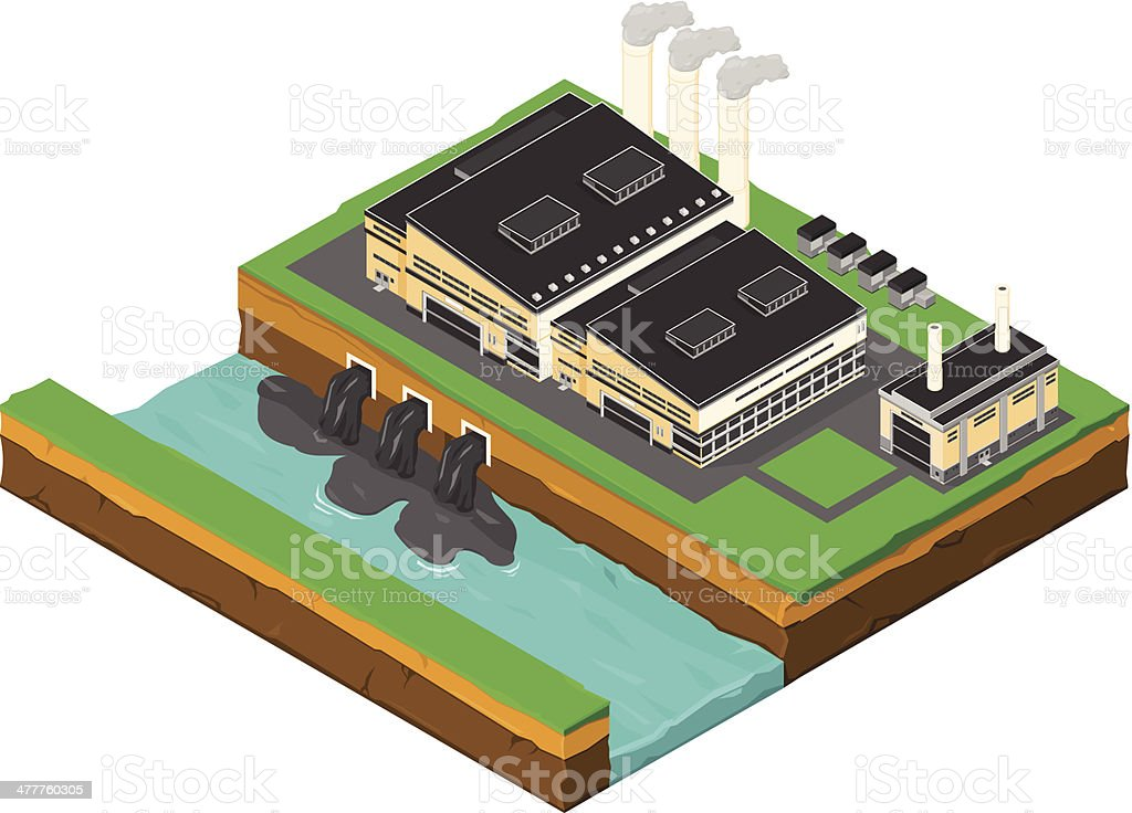Isometric Factory with Water and Air Pollution vector art illustration