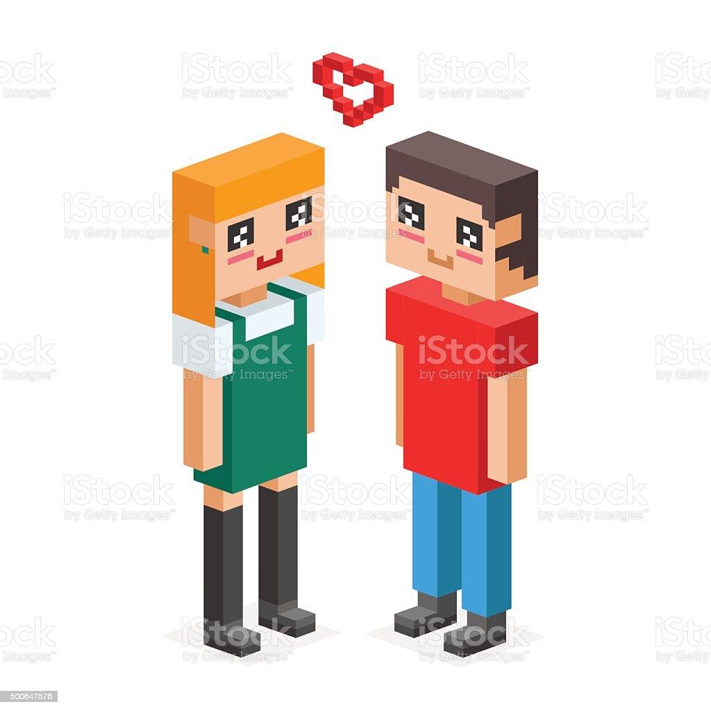Isométrique famille couple de mariage amour - Illustration vectorielle