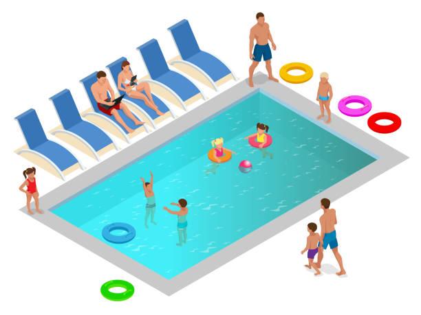 bildbanksillustrationer, clip art samt tecknat material och ikoner med isometrisk familj njuter av sommarsemester i lyxiga poolen koncept. vektorillustration - pool