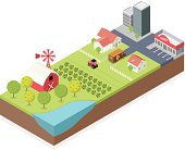 Isometric, Farm and City made in adobe Illustrator (vector)