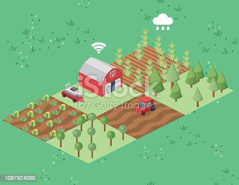 Modular isometric farming scene.