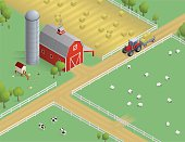 Isometric farm with barn, silo, tractor, chicken coop, sheep and cows. Download includes EPS file and hi-res jpeg.