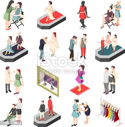 Fashion industry set of isometric icons with models on catwalk, photographer, stylist and visagiste isolated vector illustration